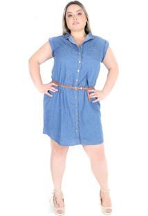 Vestido Saint Yves Manga Curta Com Cinto Cambos Azul