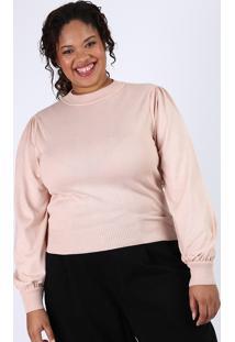 Suéter De Tricô Feminino Plus Size Manga Bufante Bege Claro