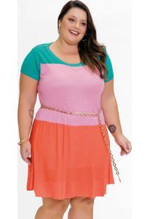 Vestido Plus Size Tricolor Em Tricô