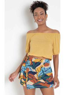 Blusa Amarela Com Elástico No Decote