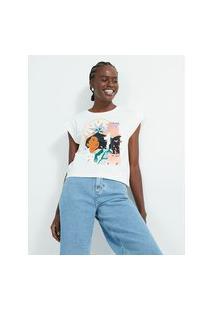 Blusa Sem Manga Em Algodão Com Estampa Em Pocahontas | Princesas | Branco | M