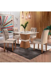 Conjunto De Mesa De Jantar Com 4 Cadeiras Vitoria Ll Suede Off White E Bege