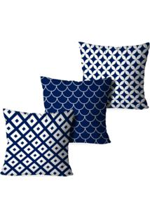 Kit 3 Capas Love Decor Para Almofadas Decorativas Multi Geometric Azul