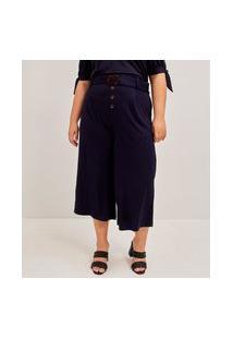 Calca Viscose Liso Pantacourt Orly Curve & Plus Size Azul