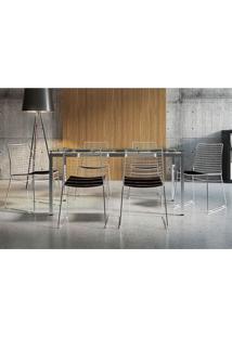 Mesa 328 Vidro Incolor Cromada Com 6 Cadeiras 1712 Preta Carraro