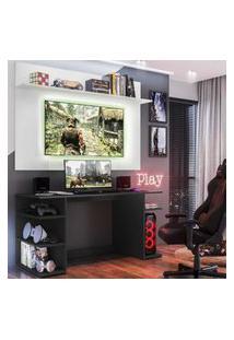 """Mesa Gamer Com Painel Tv 55"""" E Prateleira Guilda Plus Multimóveis Preto/Branco"""