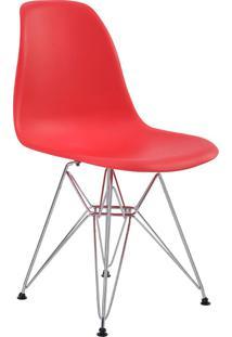 Cadeira Sem Braço Pp Base Cromada Eiffel -Rivatti - Vermelho