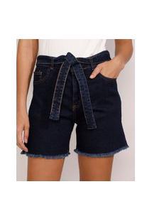 Bermuda Jeans Feminina Cintura Alta Com Barra Desfiada E Faixa Para Amarrar Azul Escuro