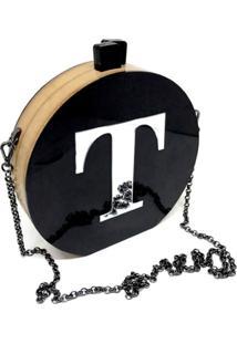 Bolsa Clutch Black Inicial Personalizada - Kanui