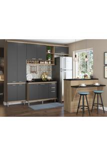 Cozinha Completa Multimóveis Com 6 Peças Sicília 5846 Argila/Grafite