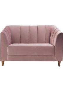 Poltrona Decorativa Charlô 110Cm Veludo Rosê - Gran Belo