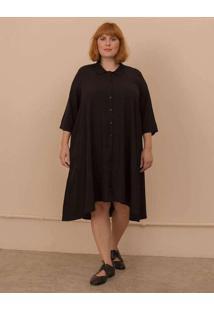 Vestido Chemise Gisela Plus Size Preto-Exg Preto