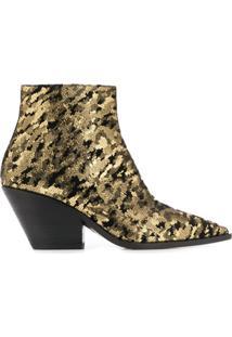 Casadei Ankle Boot Metalizada - Dourado