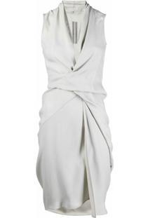 Rick Owens Vestido Midi Drapeado Sem Mangas - Cinza