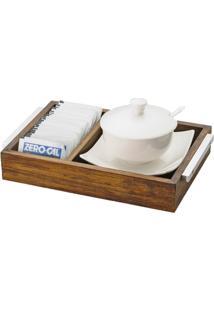 Suporte Açucareiro Com Pires E Colher Madeira Porcelana 21X14Cm 4 Peças - Unissex