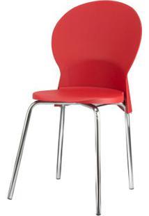 Cadeira Luna Assento Vermelho Base Cromada - 53819 Sun House