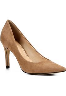 Scarpin Couro Shoestock Salto Alto Bico Fino - Feminino-Nude