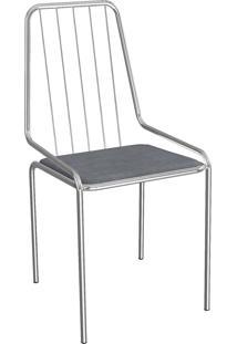 Cadeira Benim Cromada Preto Linho Cinza 1C082Cr-17 Crome