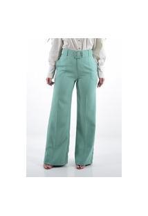 Calça Mamorena Pantalona Com Cinto Encapado Verde