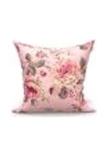 Capa De Almofada Decorativa Rosê Floral 45Cm X 45Cm 1 Unidade