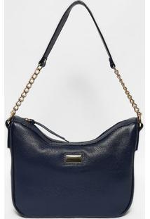 Bolsa Em Couro Com Tag- Azul Marinho & Dourada- 22X2Anette