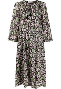 Masscob Vestido Com Padronagem De Folhagem E Detalhe De Tassel - Rosa