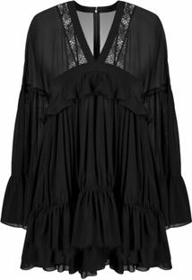 Saint Laurent Vestido Com Babados - Preto