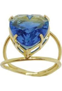 Anel Kumbayá Coração Rainbow Banho De Ouro 18K Zirconia Feminino - Feminino-Azul