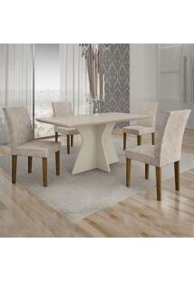 Conjunto De Mesa De Jantar Creta Com 4 Cadeiras Olímpia Suede Off White E Palha