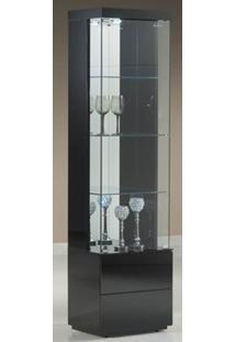 Cristaleira Square Laca Preta Brilho 50 Cm - 32402 - Sun House