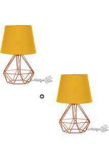 Kit 2 Abajur Diamante Dome Amarelo Com Aramado Cobre - Amarelo - Dafiti
