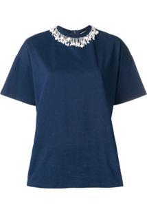 Christopher Kane Camiseta Com Aplicações - Azul