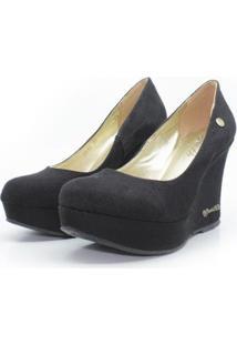Scarpin Barth Shoes Land Simple Suede Feminino - Feminino-Preto