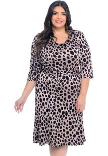 Vestido Plus Size Marie Jacquard Estampa Animal Print