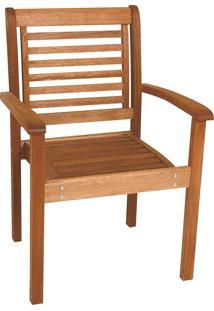 Cadeira Empilhável Milano Com Braços Madeira Maciça Mestra Móveis Linha Madeira