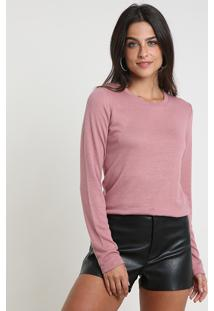 Suéter Feminino Em Tricô Decote Redondo Rosa