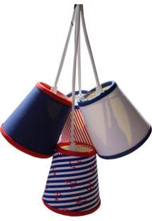 Lustre Pendente Bebê Marinheiro Azul Marinho E Vermelho