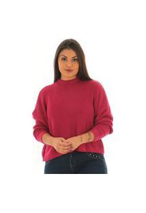 Blusa Básica Feminina De Lã Curta Vinho