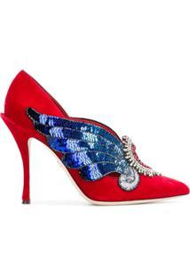 Dolce & Gabbana Scarpin 'Love Heart' De Veludo - Vermelho