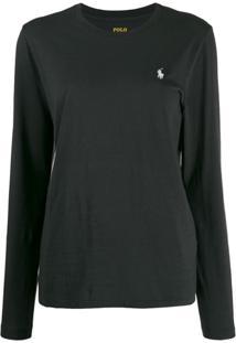 Polo Ralph Lauren Camiseta Mangas Longas Com Logo Bordado - Preto
