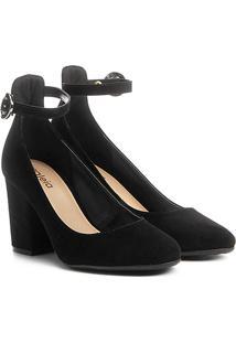861d5fc4ce ... Sapato Azaleia Salto Bloco Ankle Strap - Feminino-Preto