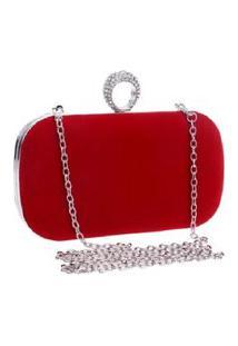 Bolsa Clutch Liage Alça Removível Veludo Metal Strass Cristal Pedra Prata E Vermelha