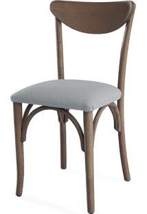 Cadeira Para Cozinha Estofada Amélie - Stain Nogueira - Tec.915 Cinza Claro - 44,5X45X81 Cm