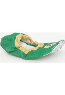 Sapatilha Em Glitter Com Pedraria- Verde & Dourada- Masquerade