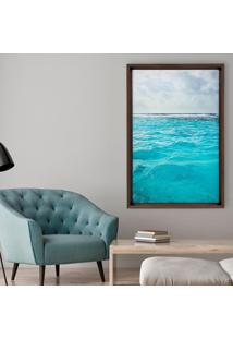 Quadro Com Moldura Chanfrada Ocean Madeira Escura - Médio