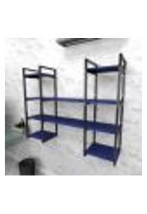 Estante Industrial Escritório Aço Cor Preto 120X30X98Cm (C)X(L)X(A) Cor Mdf Azul Modelo Ind50Azes