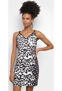Vestido Lança Perfume Curto Alças Finas Onça - Feminino-Preto
