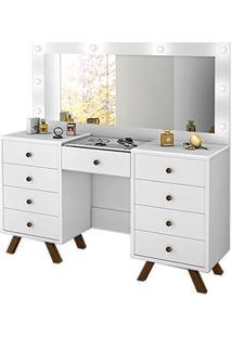 Penteadeira Camarim Com Espelho 9 Gavetas Mila Branco - Móveis Lupi