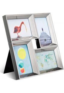 Porta Retrato Em Plástico Multi 4 35X36Cm Prata