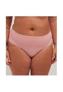 Calcinha Poliamida Liso Com Renda Curve E Plus Size Rosa